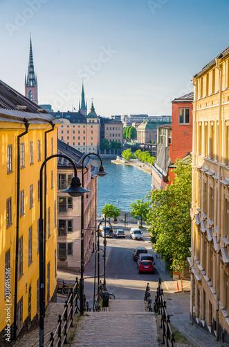 Obraz na plátne Narrow street staircase down to Lake Malaren, Stockholm, Sweden