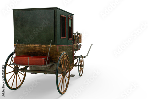 Fotomural carriage in a white background