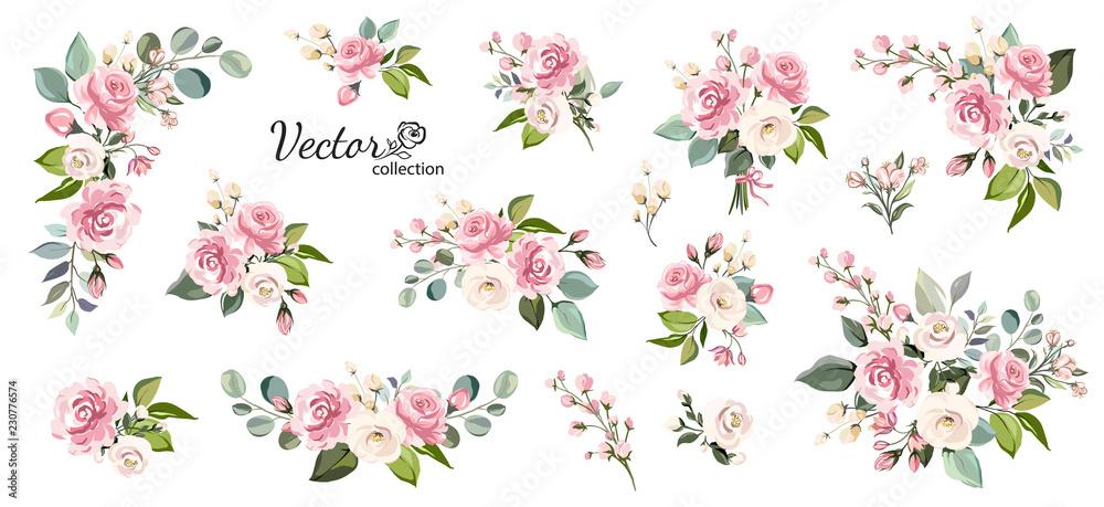 Zestaw kwiatowy oddziału. Kwiat różowa róża, zielone liście. Koncepcja ślub z kwiatami. Kwiatowy plakat, zapraszam. Wektorowi przygotowania dla kartka z pozdrowieniami lub zaproszenia projekta <span>plik: #230776574   autor: lisima</span>
