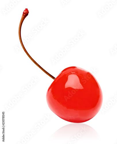 Fotografia Maraschino cherry isolated on white background