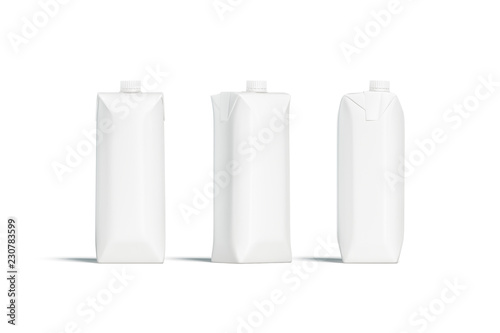 Blank white prisma juice pack with lid mockup set, different sides, 3d rendering. Empty milk pack mock up, stand isolated. Clear aseptic box with cap for fresh drink. Packet with yogurt template.