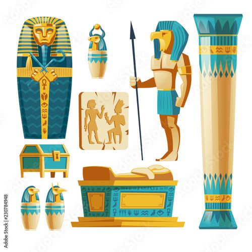 Obraz na płótnie Vector cartoon set of ancient Egypt objects isolated on background