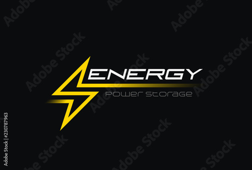 Photo Flash Thunderbolt Energy Power Logo vector linear battery icon