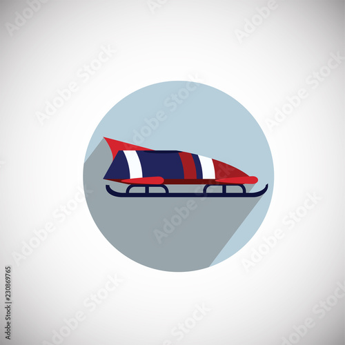 Foto Bobsleigh on flat background icon