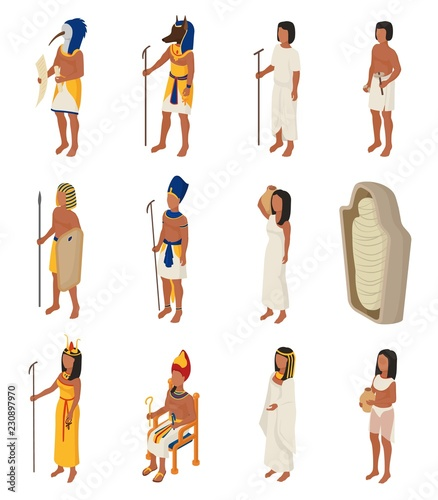 Fotografie, Obraz Egyptian vector ancient egypt people character pharaoh horus god man woman cleop