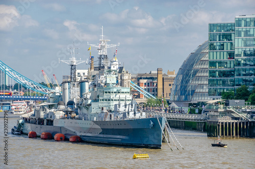 Canvas Print HMS Belfast a Royal Navy light cruiser on the River Thames in London,United King