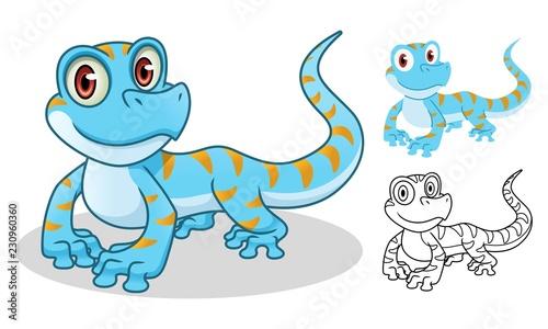 Fototapeta premium Gecko postać z kreskówki maskotka projekt, w tym projekt płaskiej i liniowej, izolowana na białym tle, ilustracji wektorowych clipart.