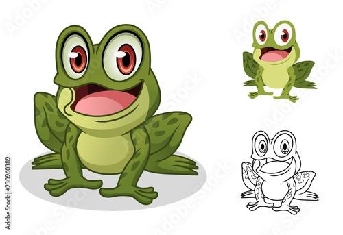 Fototapeta premium Mężczyzna żaba postać z kreskówki maskotka projekt, w tym projekt płaskich i linii, izolowana na białym tle, ilustracji wektorowych clipart.