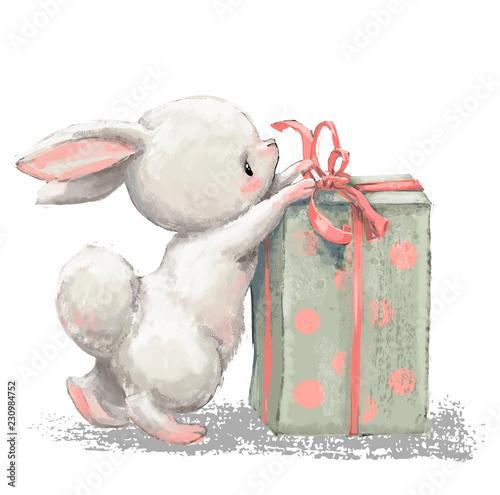 Fototapeta premium zając kreskówka urodziny z obecnym pudełkiem