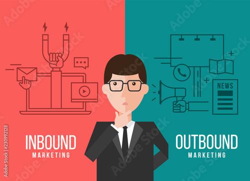 Fotografía Businessmen are deciding between Inbound marketing and outbound marketing banner