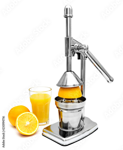 Orange juice hand press or juicer, isolated on white background. Stainless steel or chrome press for citrus fruits. Healthy lifestyle theme, isolated object.