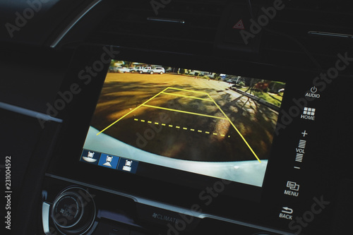 Carta da parati Car rear view system monitor reverse video camera.