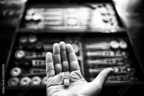 Fotografia backgammon traditional oriental game, macro background gambling