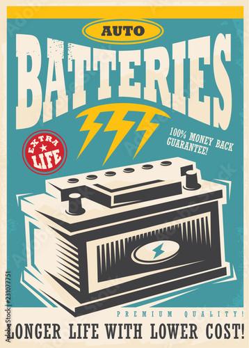 Fotografia, Obraz Auto lite batteries vintage ad design template