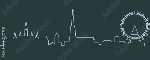 Fototapeta premium Jednoliniowy panoramę Wiednia