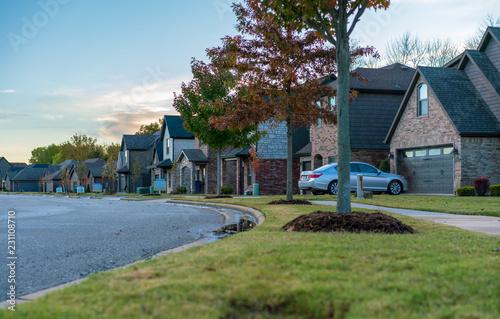 Obraz na płótnie Living in Residential Housing Neighborhood Street at Sunset in Bentonville Arkan