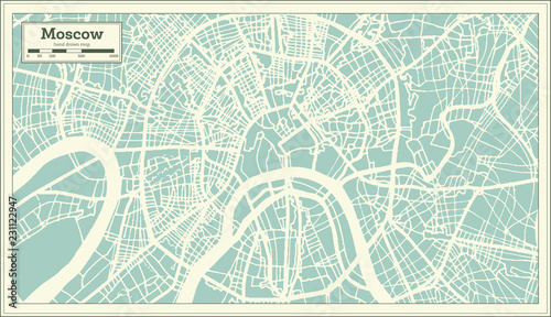 Obraz na plátně Moscow Russia City Map in Retro Style. Outline Map.
