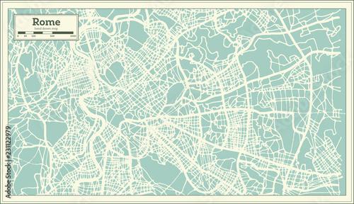 Fotografie, Obraz Rome Italy City Map in Retro Style. Outline Map.