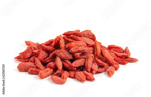 Dried goji berries on white background