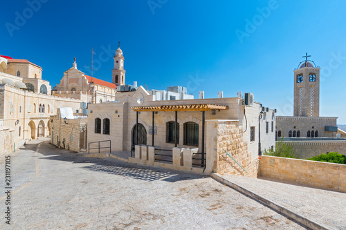 View on the old street and Greek Byzantine Catholic Church in Bethlehem Fototapete