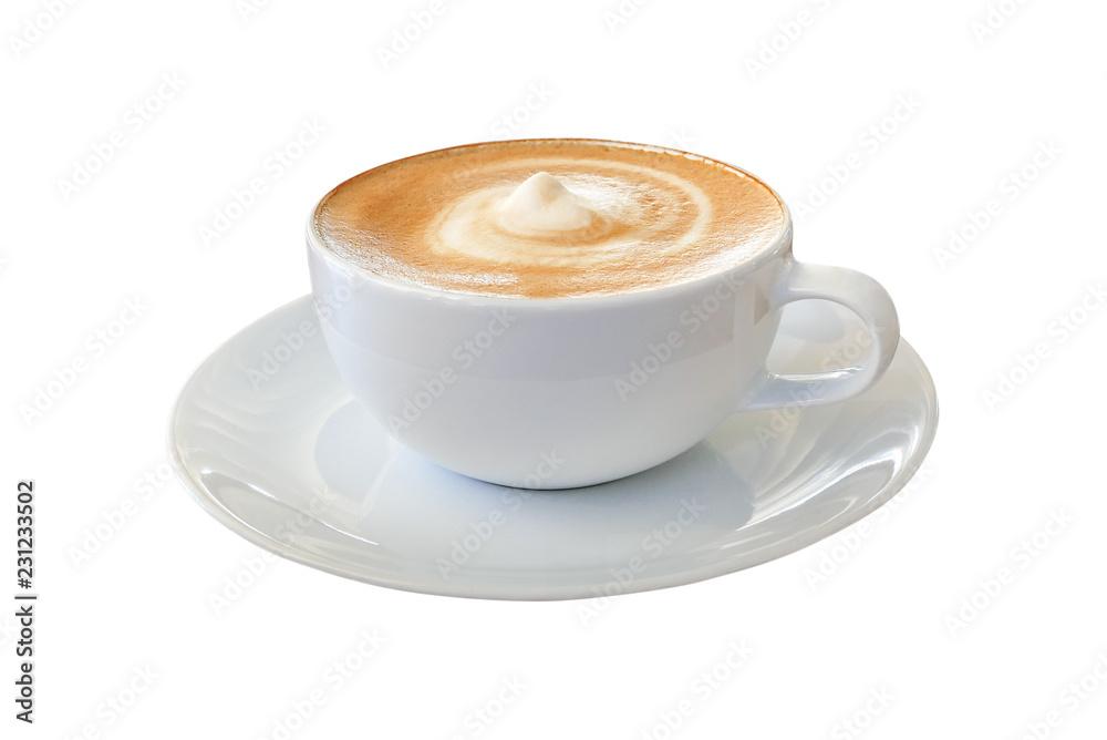 Gorący kawowy cappuccino latte w białej filiżance z mieszaną ślimakowatą mleko piany teksturą odizolowywającą na białym tle, zawierać ścinek ścieżka. <span>plik: #231233502   autor: Chansom Pantip</span>