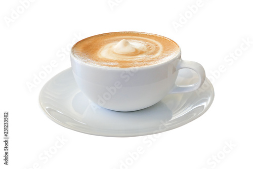 Leinwand Poster Hot coffee cappuccino latte in white cup with stirred spiral milk foam texture isolated on white background, clipping path included