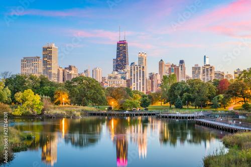 Fotografie, Obraz Lincoln Park, Chicago, Illinois Skyline