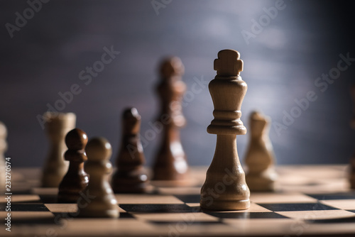 Chess on chessboard close up Fototapeta