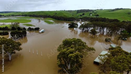 Fotografia Aerial shot of a flooded rural town in Victoria, Australia.
