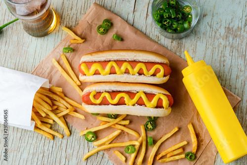 Canvas Print Hot dog, mustard and beer