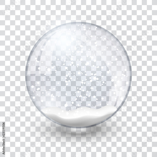 Wallpaper Mural snow globe ball realistic new year chrismas object isolated on transperent backg