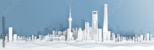Wallpaper Mural Panorama postcard and travel poster of world famous landmarks of Shanghai, China