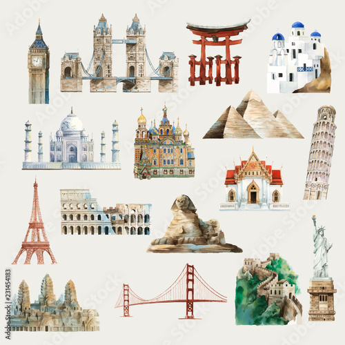 Fotografia Collection of architectural landmarks around the world watercolor illustration