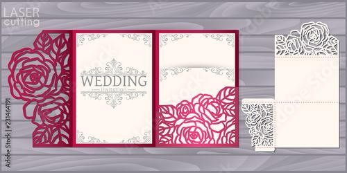 Stampa su Tela Die laser cut wedding card vector template