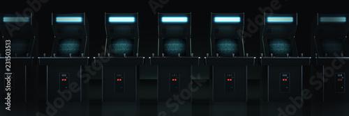 Carta da parati vintage arcade game machine. 3d rendering