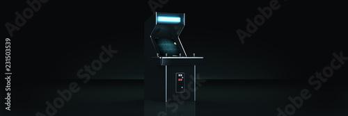 Leinwand Poster vintage arcade game machine. 3d rendering