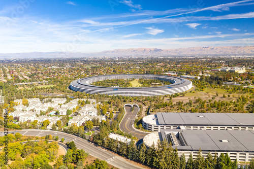 Fototapeta Aerial view over Cupertino in Bay Area, California on a sunny day