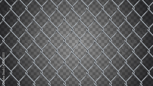 Fotografie, Tablou Seamless  realistic chain link fence background.  Vector mesh is