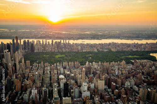 New York Central park aerial view in summer Fotobehang