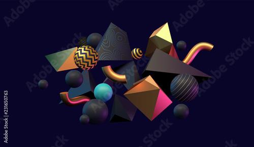 3D abstrakcyjne czarne, złote i turkusowe kolorowe kształty geometryczne. Zainspirowany Memphis. Eps10 wektor