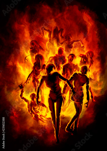 Fotografia Burning zombies/ Illustration a crowd of zombies in fire