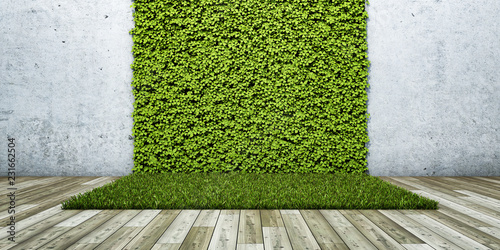 Inner courtyard with green wall