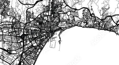 Canvas Print Urban vector city map of Malaga, Spain