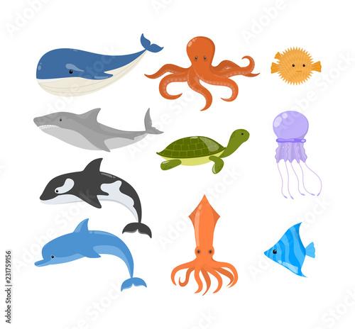 Fototapeta premium Zestaw zwierząt oceanicznych i morskich. Kolekcja stworzeń wodnych