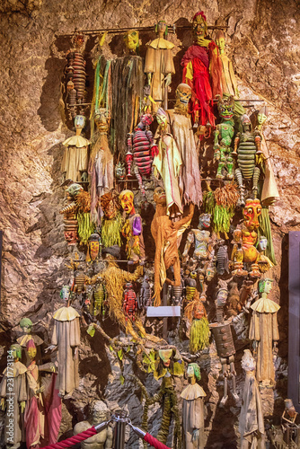 Theater marionette puppets and skeletons, Salzburg, Austria. Antique handmade marionettes in Salzburg s world-famous Marionette Theater. Hohensalzburg castle.