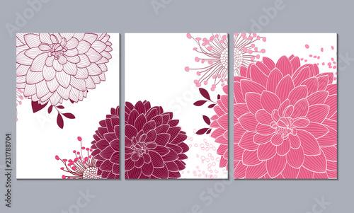 Billede på lærred A set of 3 canvases for wall decoration in the living room, office, bedroom, kitchen, office