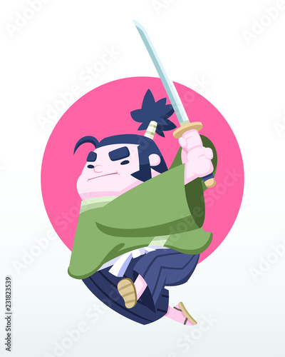 Photo Cute style determined Japanese chubby samurai jumping with katana in his hand ve