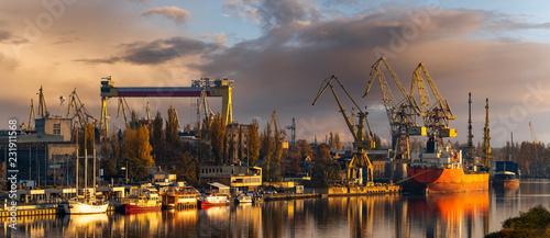 Fotografie, Tablou Szczecin, Poland-November 2018: A view of the repair shipyard and the quay in Sz
