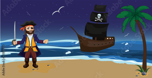 Obraz na płótnie Cartoon pirate stand against background of  pirate ship with black sails and skull
