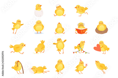 Canvas Print Set of funny yellow chicken in various situations